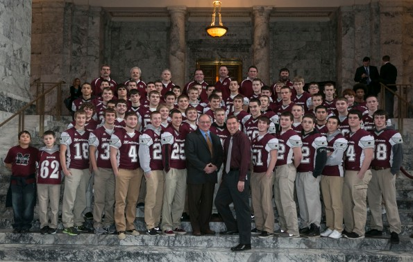 Sen Jim Hargrove with Montesano High School's football team.
