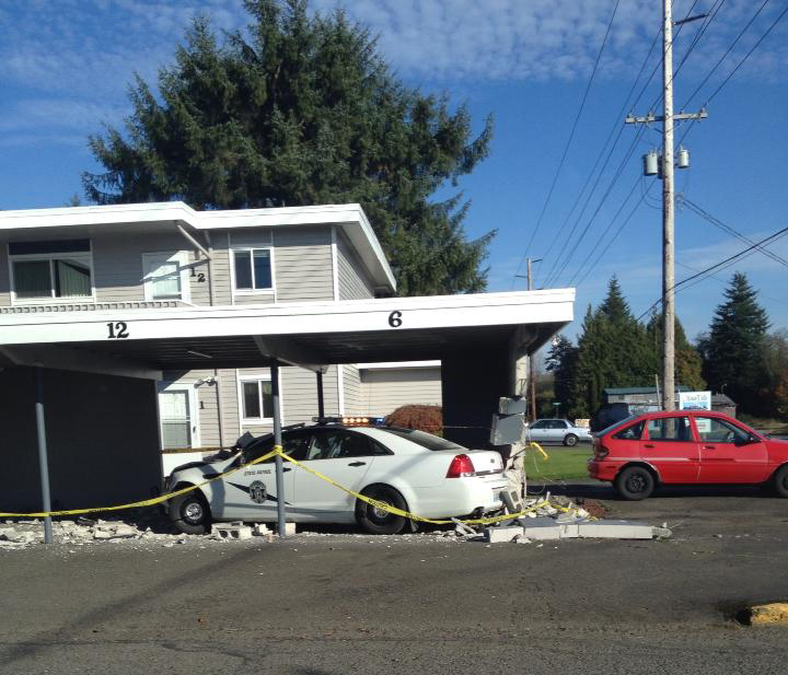 What Is Another Name For A Carport: State Patrol Trooper Drives Into Car And Then Carport