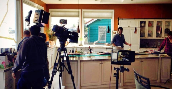 Chef Bickar cooking for Food Forward. Photo property of Rediviva