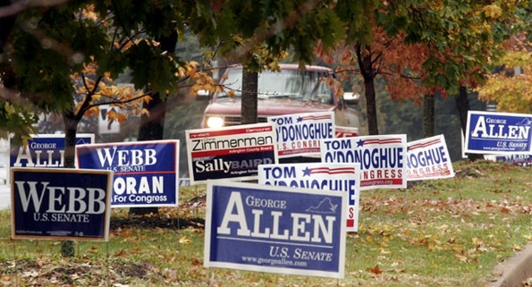 Example of political sign placement along a street. Image from www.uprinting.com